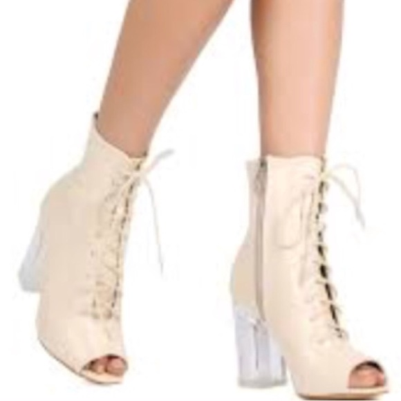 994bbe4cf36f Transparent Heels Peep Toe Lace Up Lucite Booties